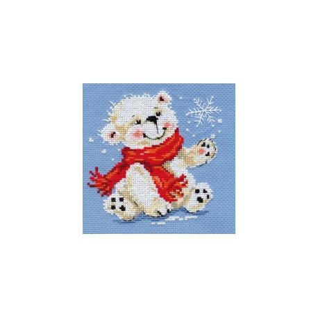Белый медвежонок, набор для вышивания крестиком, 12х13см, 11цветов Алиса