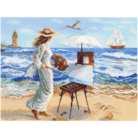 Девушка с этюдником, канва с рисунком для вышивки нитками 37х49см. Матрёнин посад