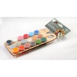 Палитра ВРЕМЕНА ГОДА, набор акриловых красок и блесток с кисточкой, 18шт*4 мл. Аква-Колор