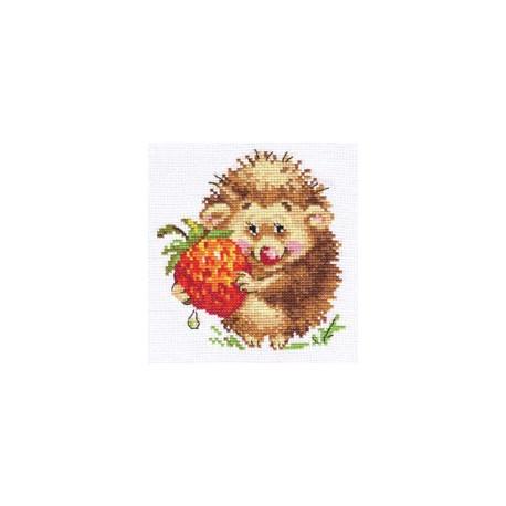 Ёжик с клубникой, набор для вышивания крестиком, 11х12см, 14цветов Алиса