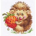 Ёжик с клубникой, набор для вышивания крестиком 11х12см 14цветов Алиса