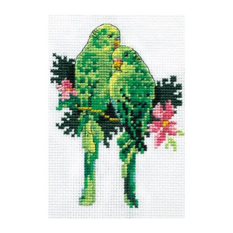 Попугайчики, набор для вышивания крестиком, 9х13см, 18цветов Кларт