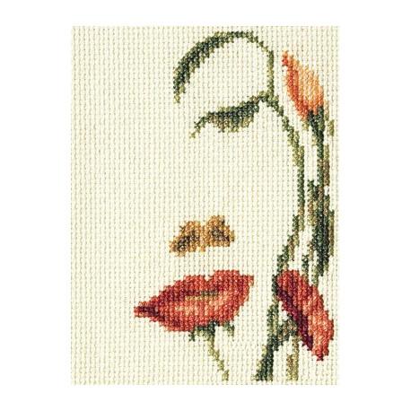 Лицо-цветы, набор для вышивания крестиком, 8х13см, 17цветов Кларт