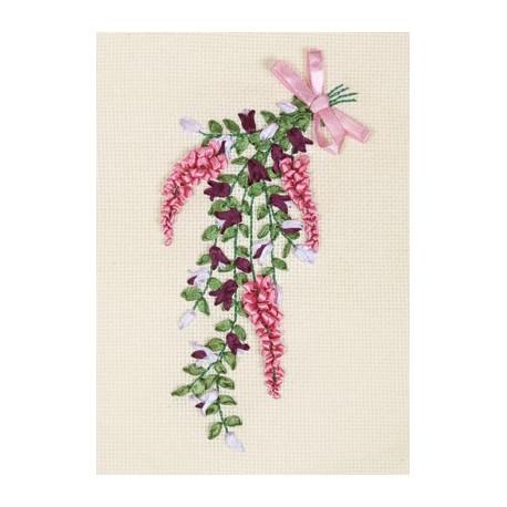 Изящная нота, набор для вышивания крестиком и лентами, 11х20см, 2+4цветов Panna
