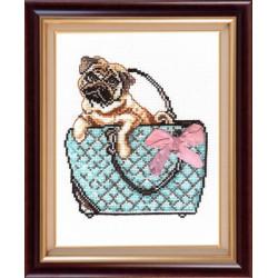 Мопс, набор для вышивания крестиком, 18х24см, мулине хлопок 9цветов Овен