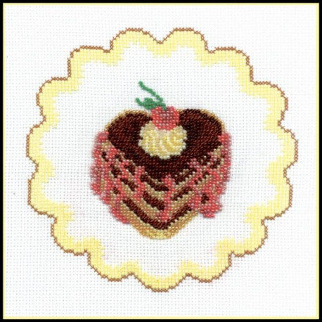Пирожное с вишней, набор для вышивания крестиком и бисером, 15х15см, 2+8цветов Овен