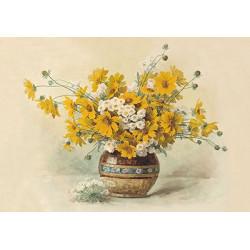 Цветы в вазе, основа с рисунком для вышивки лентами. 30х39см. Gamma