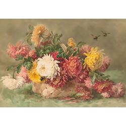 Хризантемы в корзине, основа с рисунком для вышивки лентами. 30х39см. Gamma