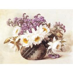 Цветы в индийской корзине, основа с рисунком для вышивки лентами. 30х36см. Gamma