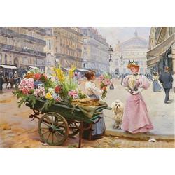 Покупка цветов, основа с рисунком для вышивки лентами. 30х39см. Gamma