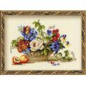 Натюрморт с персиком, набор для вышивания крестиком, 30х24см, нитки шерсть Safil 20цветов Риолис