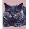 Серый кот, канва с рисунком для вышивки нитками 28х37см. Матрёнин посад