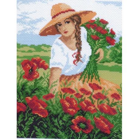 Девушка с маками, канва с рисунком для вышивки нитками 28х34см. Матрёнин посад