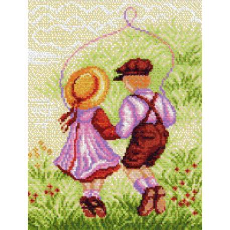 Вместе весело, канва с рисунком для вышивки нитками 24х30см. Матрёнин посад