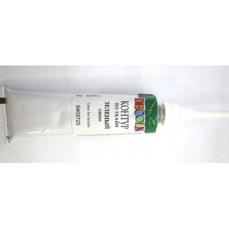Зеленый контур по ткани акриловый 18мл Decola