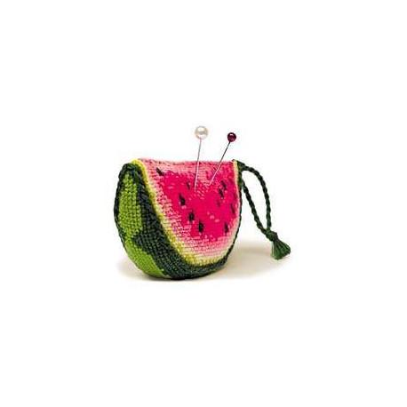Игольница Арбуз, набор для вышивания крестиком, 9х5х3см, нитки шерсть Safil 8цветов Риолис