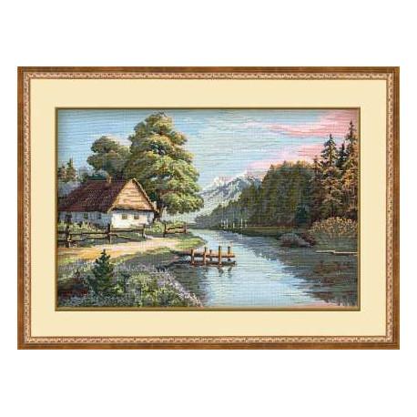 Тихая речка, набор для вышивания крестиком, 38х26см, нитки шерсть Safil 20цветов Риолис