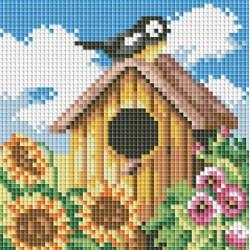 Птичий домик, набор для изготовления картины стразами 15х15см 19цв. полная выкладка, Белоснежка