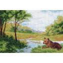 Медвежонок у воды, канва с рисунком для вышивки нитками 37х49см. Матрёнин посад