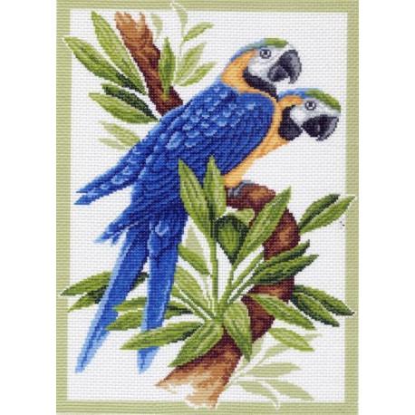 Попугаи, канва с рисунком для вышивки нитками 37х49см. Матрёнин посад