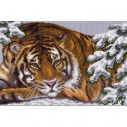 Амурский тигр, канва с рисунком для вышивки нитками 37х49см. Матрёнин посад