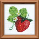 Клубничка, набор для вышивания, 10х10см, бисер+мулине 5+8цветов Риолис