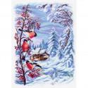 Русская зима, канва с рисунком для вышивки нитками 37х49см. Матрёнин посад