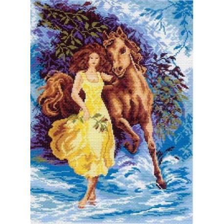Девушка с конем, канва с рисунком для вышивки нитками 33х45см. Матрёнин посад