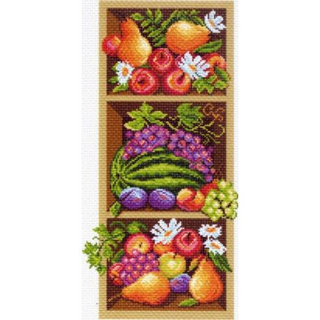Полка с фруктами, канва с рисунком для вышивки нитками 24х47см. Матрёнин посад