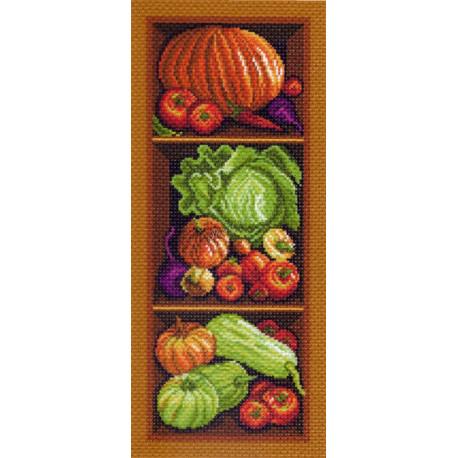 Полка с овощами, канва с рисунком для вышивки нитками 24х47см. Матрёнин посад