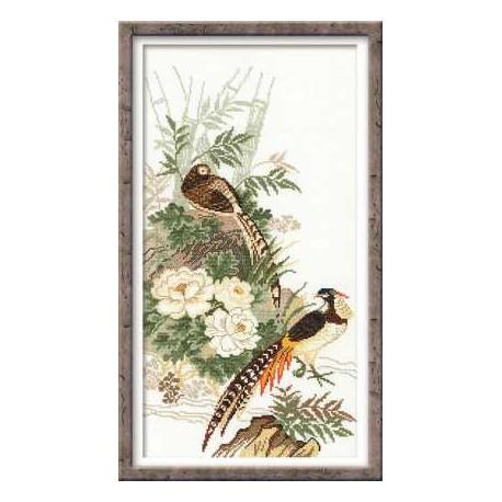 Фазаны, набор для вышивания крестиком, 26х48см, мулине хлопок Anchor 13цветов Риолис