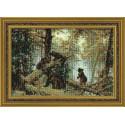 Утро в сосновом лесу.И.Шишкин, набор для вышивания крестиком 38х26см нитки шерсть Safil 14цветов