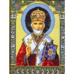 Николай Чудотворец икона, канва с рисунком для вышивки нитками 37х49см. Матрёнин посад