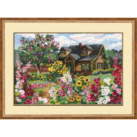 Цветущий сад, набор для вышивания крестиком 38х26см нитки шерсть Safil 24цвета Риолис