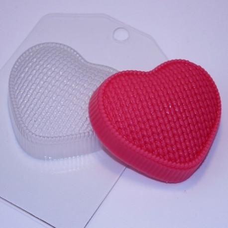 Сердце вязаное, пластиковая форма для мыла 95г 83х71х24мм XD