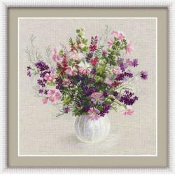 Летний букет, набор для вышивания крестиком, 48х48см, нитки шерсть Safil 19цветов Риолис