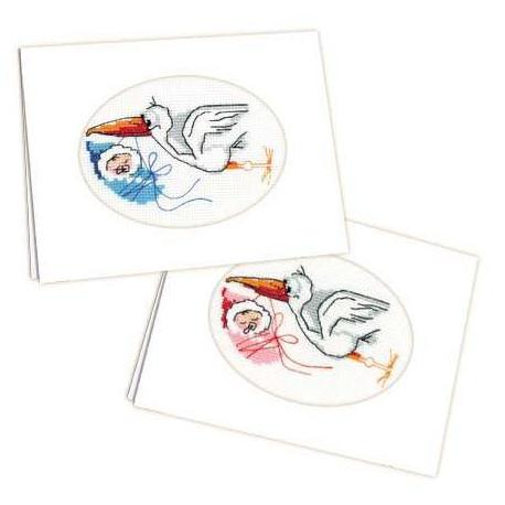 Открытка С новорождённым!, 12х16см, мулине 9цветов, Риолис