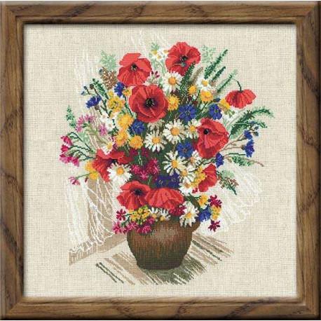 Букет с маками, набор для вышивания крестиком, 45х45см, нитки шерсть Safil 24цвета Риолис