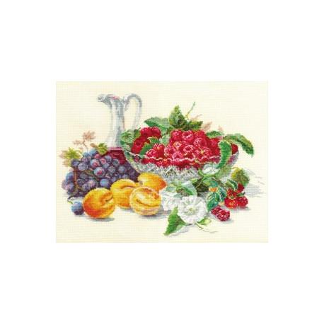 Абрикосы и малина, набор для вышивания крестиком, 37х27см, 40цветов Алиса