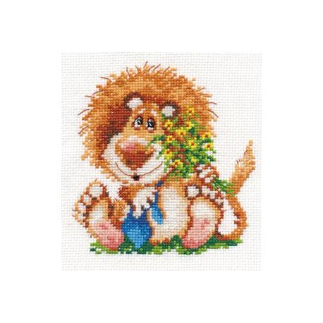 Лева, набор для вышивания крестиком 12х13см 17цветов Алиса