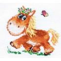Лошадка, набор для вышивания крестиком 13х13см 13цветов Алиса