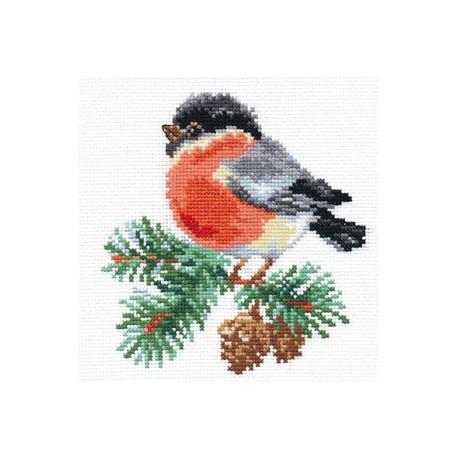 Снегирек, набор для вышивания крестиком, 14х14см, 15цветов Алиса