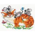 Веселая прогулка, набор для вышивания крестиком, 15х11см, 15цветов Алиса
