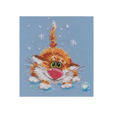 Первый снег, набор для вышивания крестиком, 12х14см, 13цветов Алиса