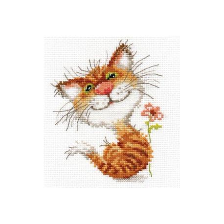 Кисочка, набор для вышивания крестиком, 12х14см, 15цветов Алиса