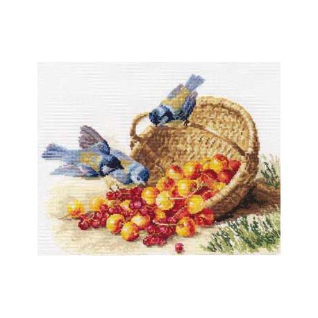 Синички и черешня, набор для вышивания крестиком, 32х24см, 33цвета Алиса