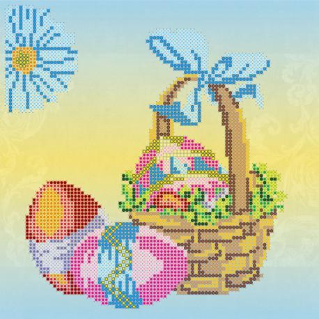 Пасхальная корзина, холст с рисунком для вышивки бисером, 20х20см, 17цветов АбрисАрт