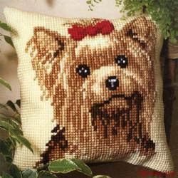 Йоркширский терьер, подушка для вышивания, канва 100% хлопок, нитки 100% акрил 40х40 см