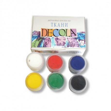 Набор красок по ткани акриловых 6х20мл Decola