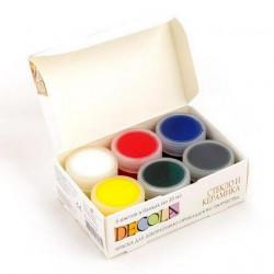 Набор красок по стеклу и керамике акриловых 6х20мл Decola